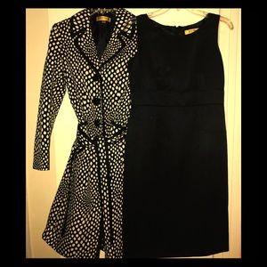 NEW KASPER Black & Butter Coat & Dress Set-Size 4